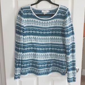 Blue and white fair isle sweater H&M